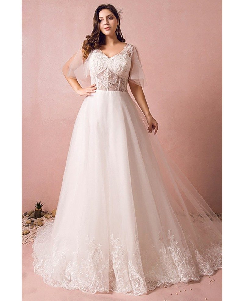 Flowy plus size a line lace wedding dress tulle corset for Lace wedding dress with long train
