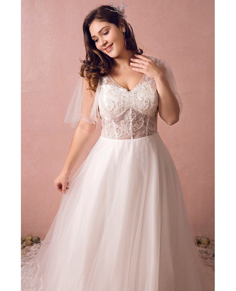 Flowy plus size a line lace wedding dress tulle corset for Corset for wedding dress plus size