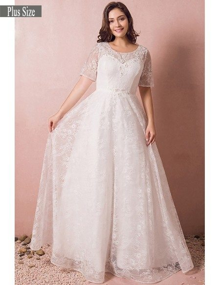 Modest Lace Short Sleeve Plus Size Wedding Dress With Beading For - Plus Size Fall Wedding Dresses