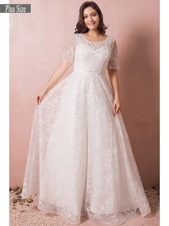 Modest Lace Short Sleeve Plus Size Wedding Dress With Beading For Cheap Online