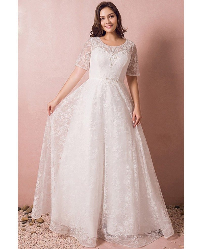 Modest lace short sleeve plus size wedding dress with for Lace wedding dresses plus size