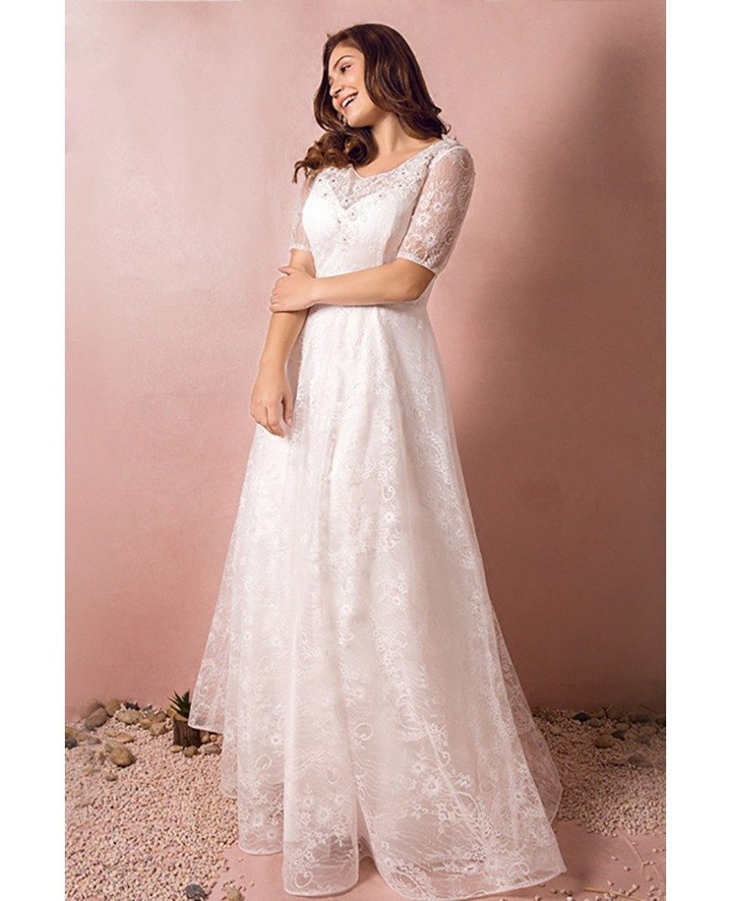 Wedding Dresses: Modest Lace Short Sleeve Plus Size Wedding Dress With