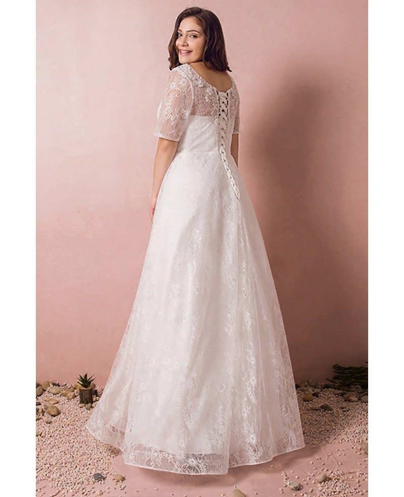 Modest lace short sleeve plus size wedding dress with for Cheap modest wedding dresses with sleeves