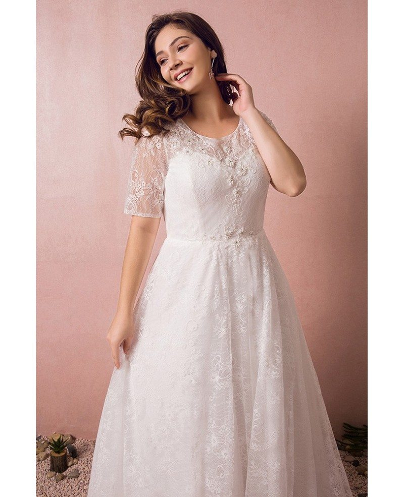 Modest lace short sleeve plus size wedding dress with for Short modest wedding dresses