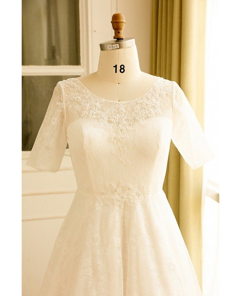 Modest lace short sleeve plus size wedding dress with for Inexpensive short wedding dresses