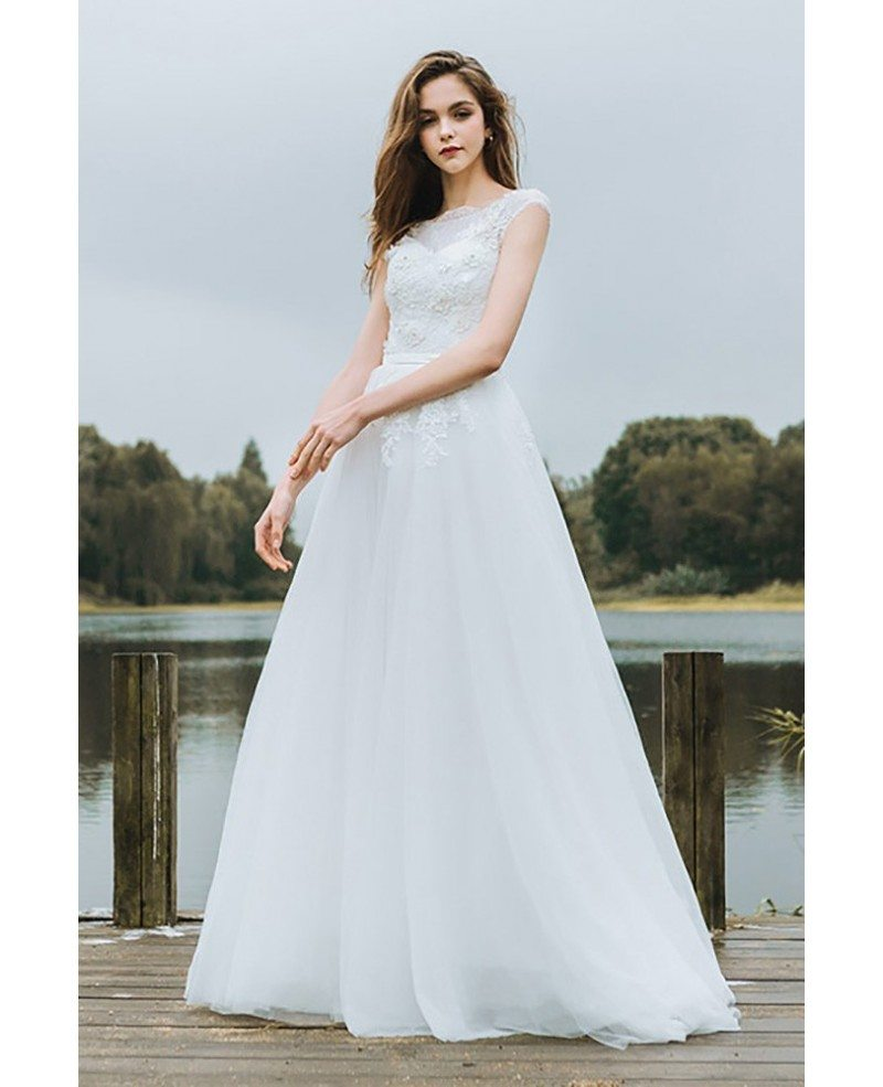 Simple Lace A Line Boho Beach Wedding Dress Long Tulle Flowy With ...