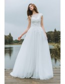 Simple Lace A Line Boho Beach Wedding Dress Long Tulle Flowy With Cap Sleeves 2018