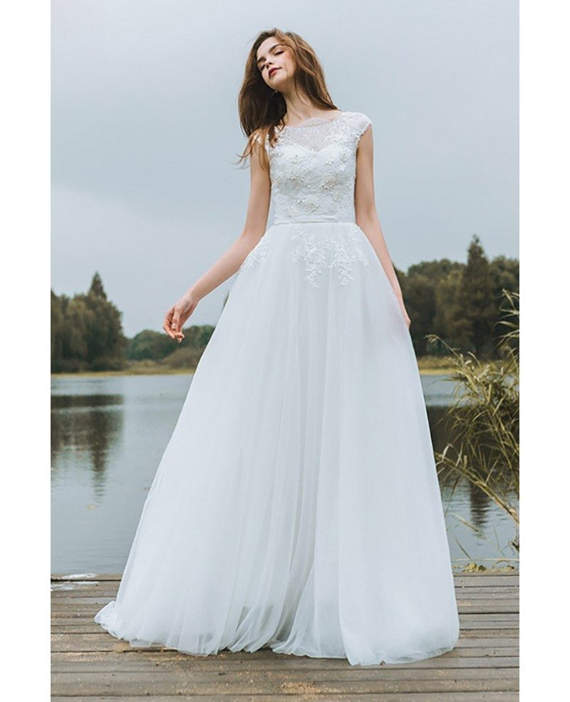 Simple lace a line boho beach wedding dress long tulle for Simple long sleeve wedding dresses