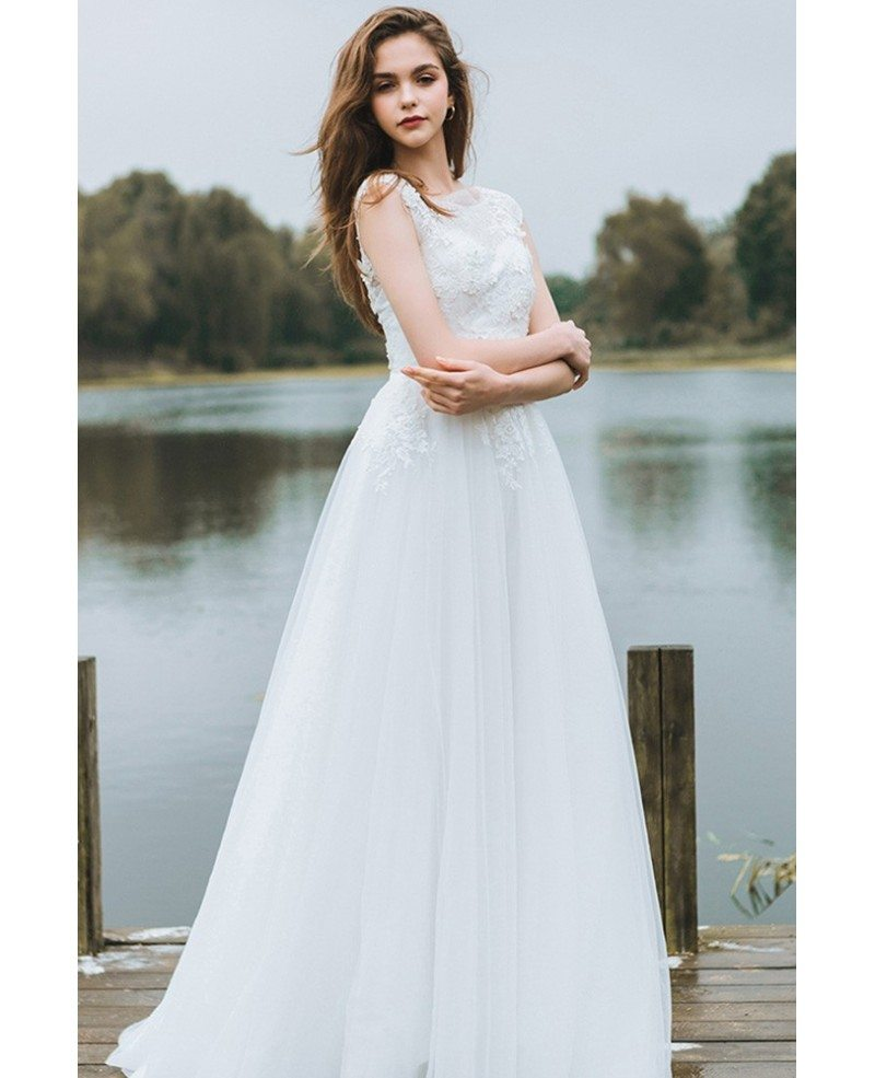 Simple Lace A Line Boho Beach Wedding Dress Long Tulle
