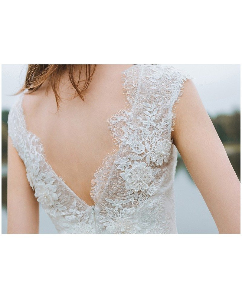 Simple Long A Line Cap Sleeve Train Lace Wedding Dresses: Simple Lace A Line Boho Beach Wedding Dress Long Tulle