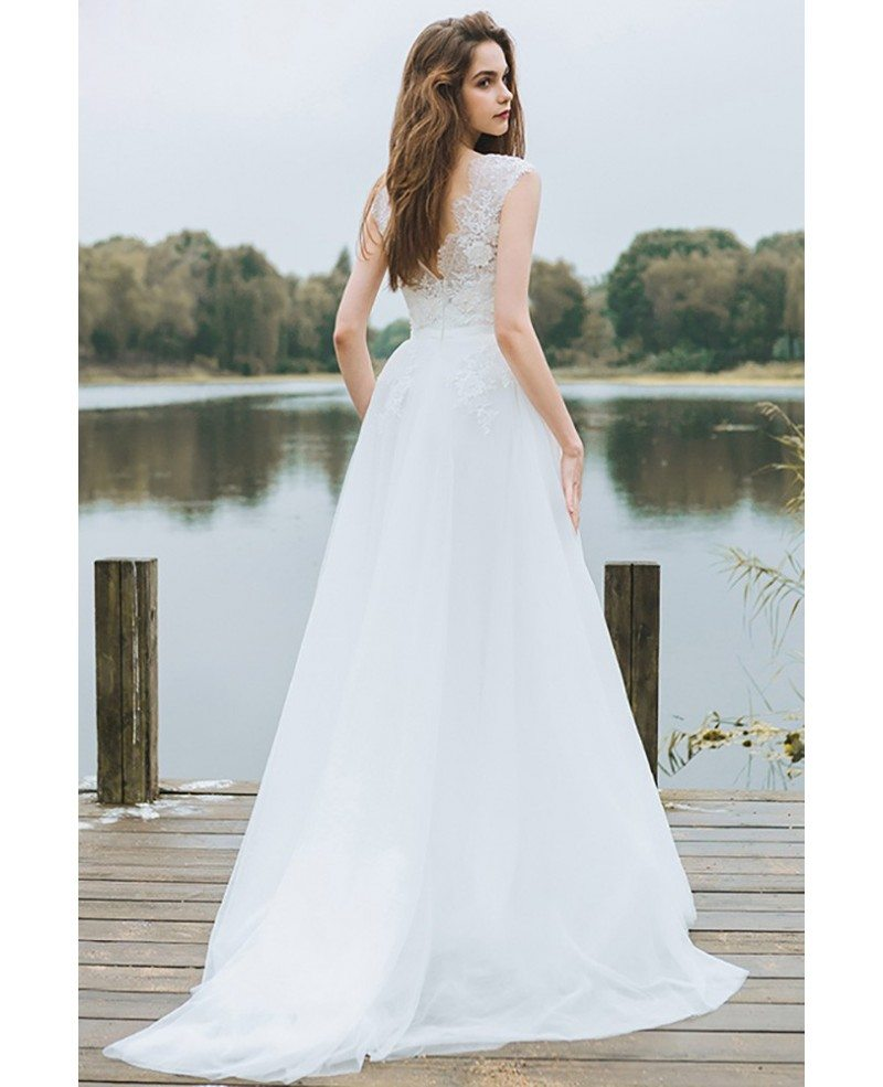 Simple lace a line boho beach wedding dress long tulle for Flowy wedding dress with sleeves