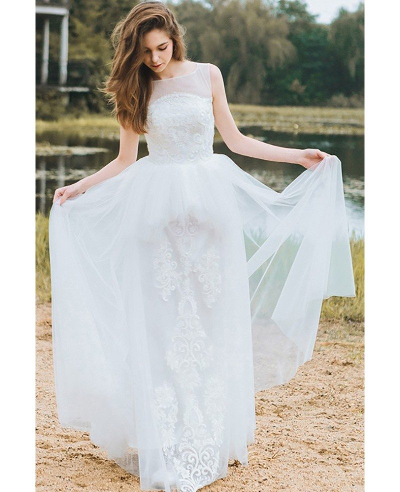 Country chic informal boho beach wedding dress sleeveless for Boho casual wedding dress