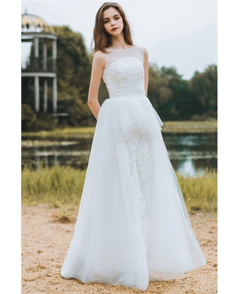 Country chic informal boho beach wedding dress sleeveless for Boho country wedding dress