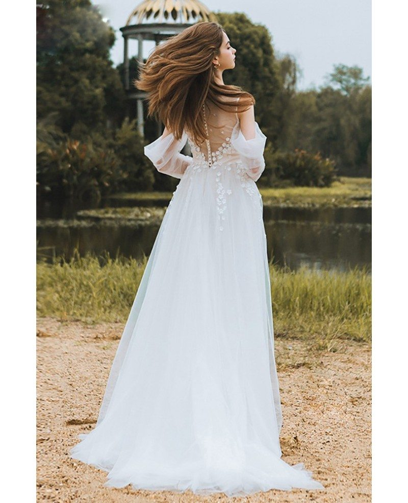 Flowy long tulle boho beach wedding derss with long for Flowy wedding dress with sleeves