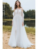 Flowy Long Tulle Boho Beach Wedding Derss With Long Sleeves Low Back