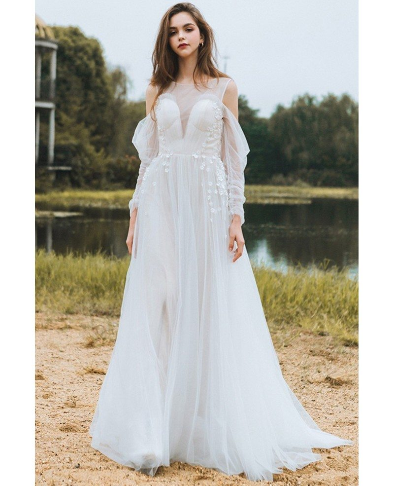 Long sleeve flowy wedding dress good dresses for Flowy wedding dress with sleeves