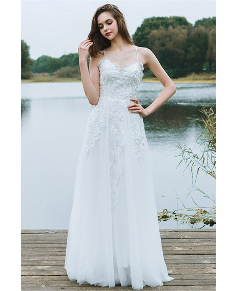 Boho A Line Simple Beach Wedding Dress Spaghetti Straps For Summer Weddings #DF6404 - GemGrace.com