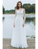 Boho A Line Simple Beach Wedding Dress Spaghetti Straps For Summer Weddings