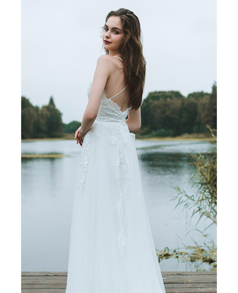 Boho A Line Simple Beach Wedding Dress Spaghetti Straps For Summer ...