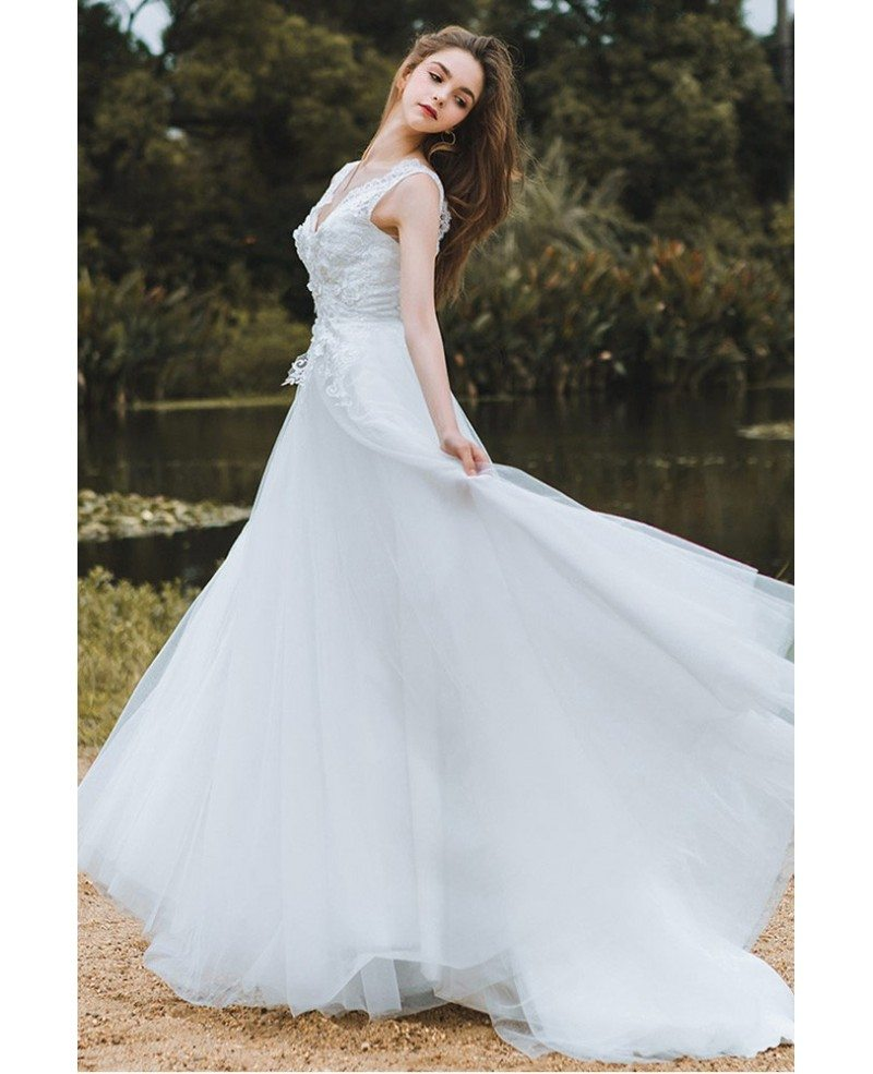 Beach Wedding Ideas On A Budget: Elegant Lace V-neck Beach Wedding Dress Boho Long Tulle A