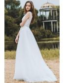 Elegant Lace V-neck Beach Wedding Dress Boho Long Tulle A Line For Cheap