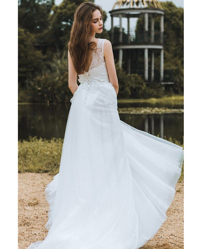 Elegant lace v neck beach wedding dress boho long tulle a for Tulle a line wedding dress