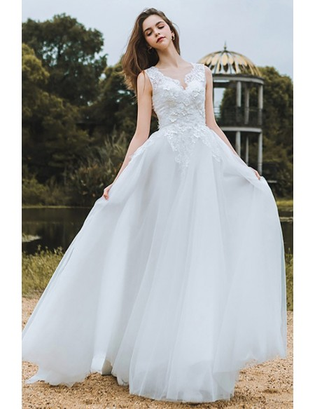 Elegant Lace V-neck Beach Wedding Dress Boho Long Tulle A Line For Cheap