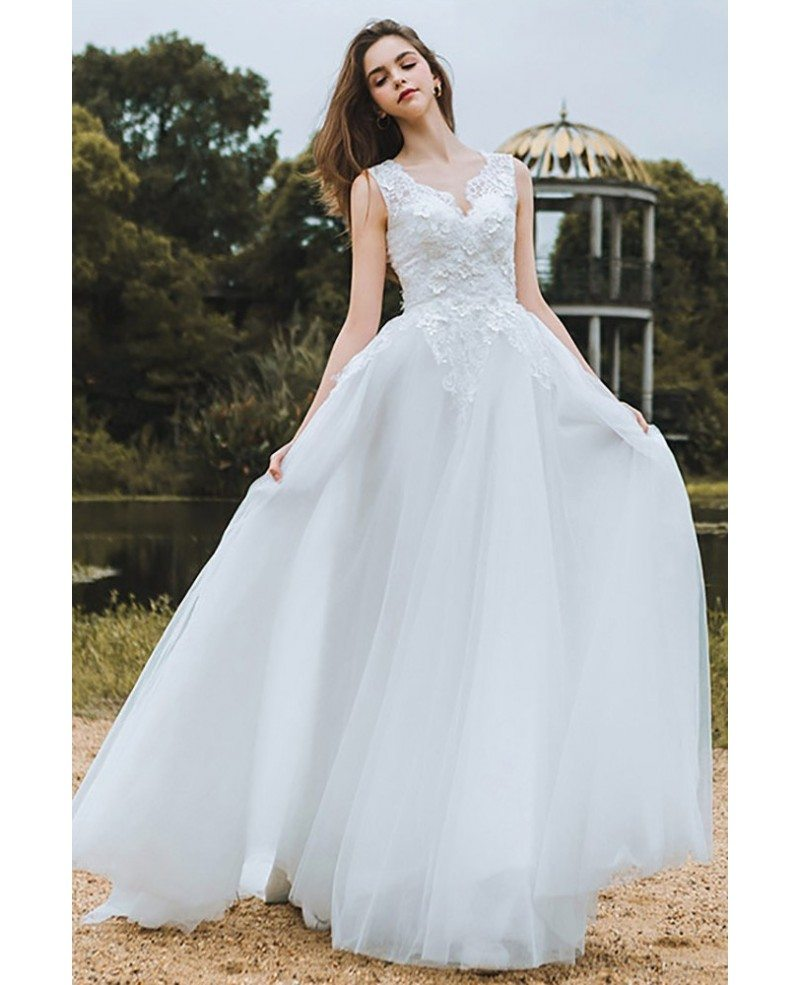 Elegant Lace V-neck Beach Wedding Dress Boho Long Tulle A Line For ...