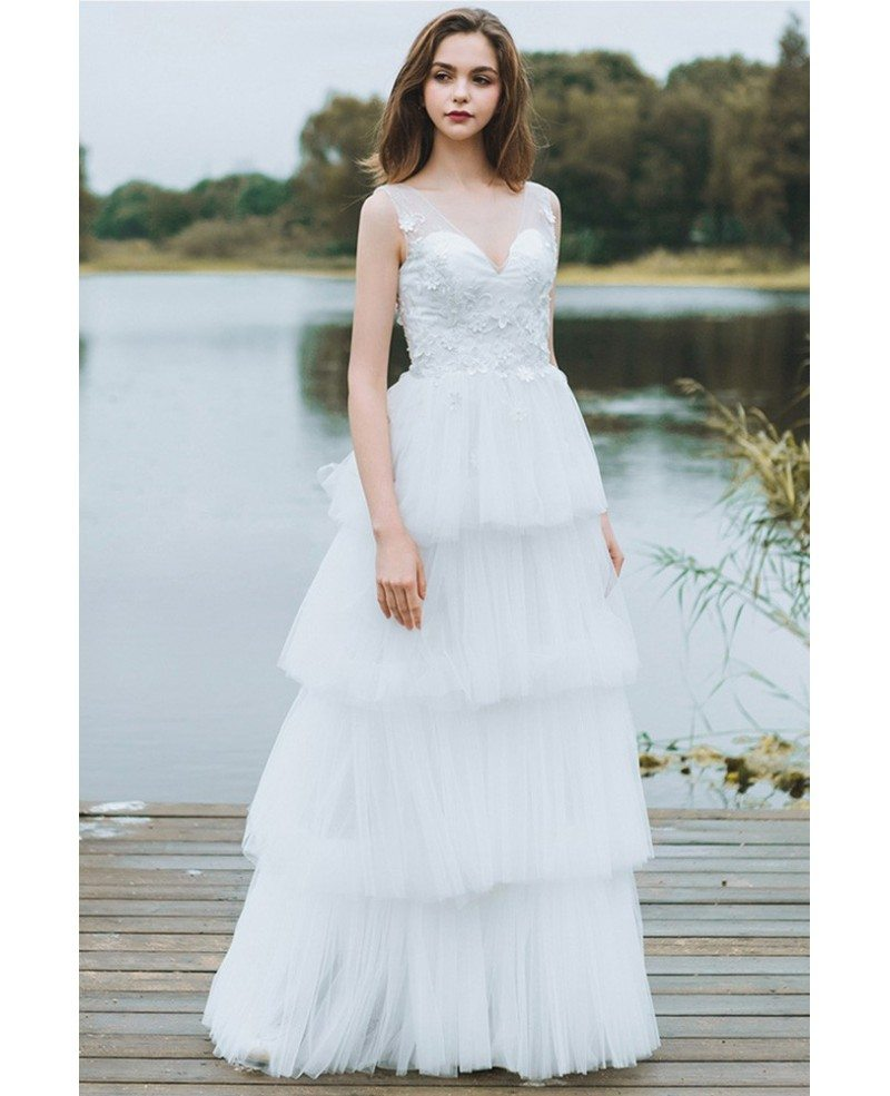 Unique Tiered Tulle Low Back Boho Wedding Dress Beach Weddings Long ...