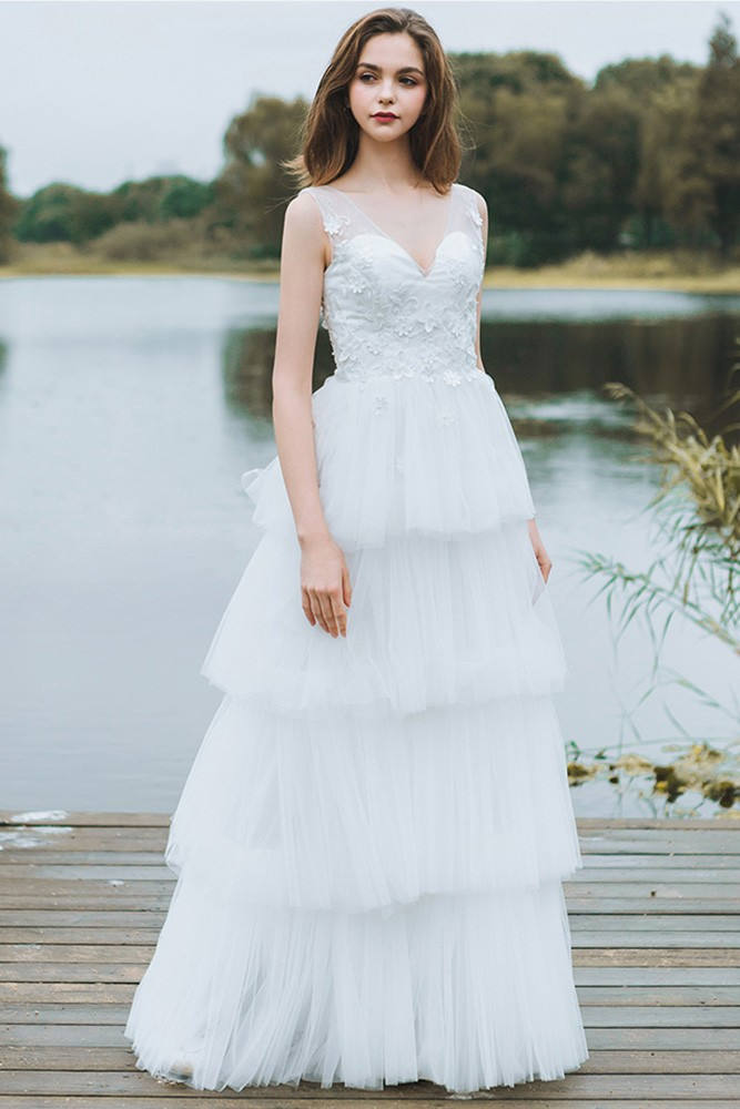 Unique Tiered Tulle Low Back Boho Wedding Dress Beach Weddings Long ...