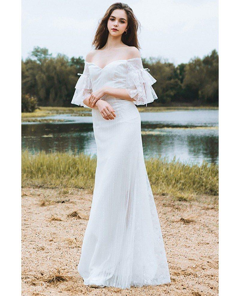 Classy off the shoulder boho beach wedding dress mermaid for Mermaid off shoulder wedding dress