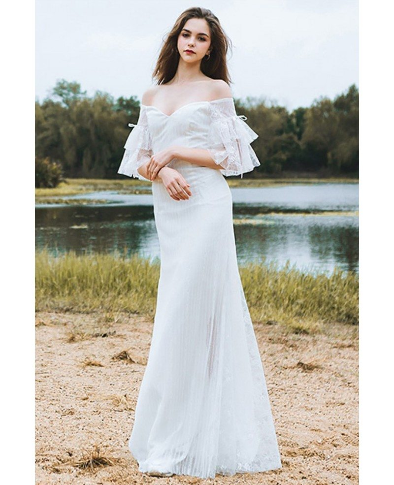 Classy off the shoulder boho beach wedding dress mermaid for Wedding dresses to buy off the rack