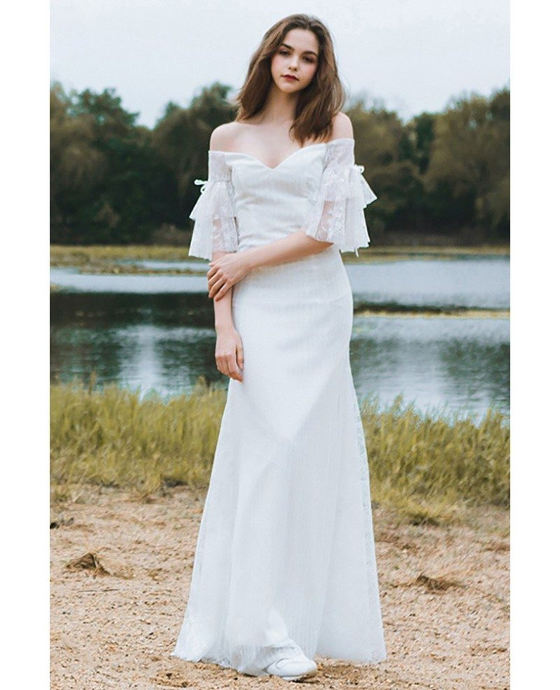 Classy off the shoulder boho beach wedding dress mermaid for Sophisticated dresses to wear to a wedding