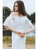 Classy Off The Shoulder Boho Beach Wedding Dress Mermaid Long Lace Dress