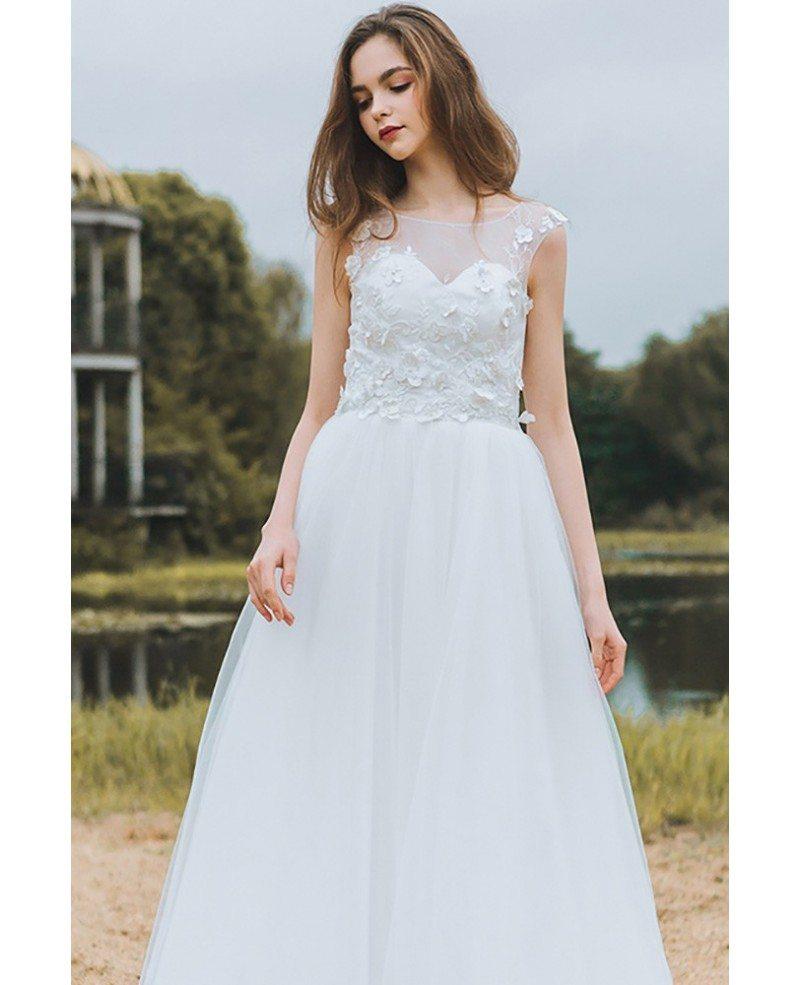 Modest Lace A Line Beach Wedding Dress Cheap Boho Cap Sleeves Long ...