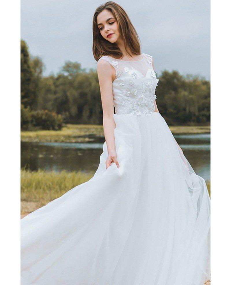 Modest lace a line beach wedding dress cheap boho cap for Beach wedding dresses with sleeves