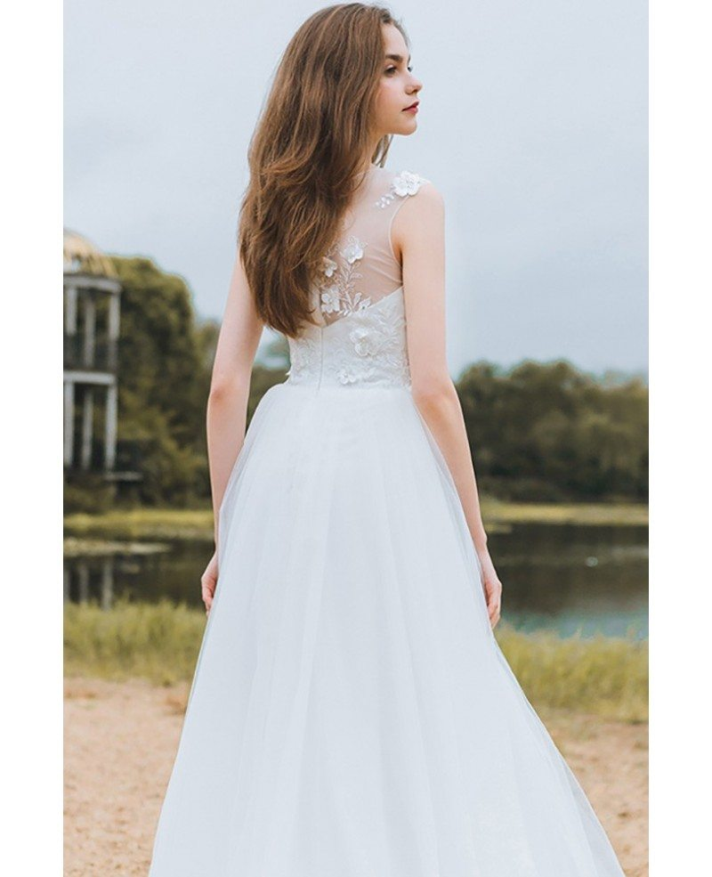 Modest lace a line beach wedding dress cheap boho cap for Modest a line wedding dresses