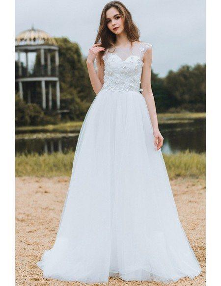 Modest Lace A Line Beach Wedding Dress Cheap Boho Cap Sleeves Long Flowing Tulle