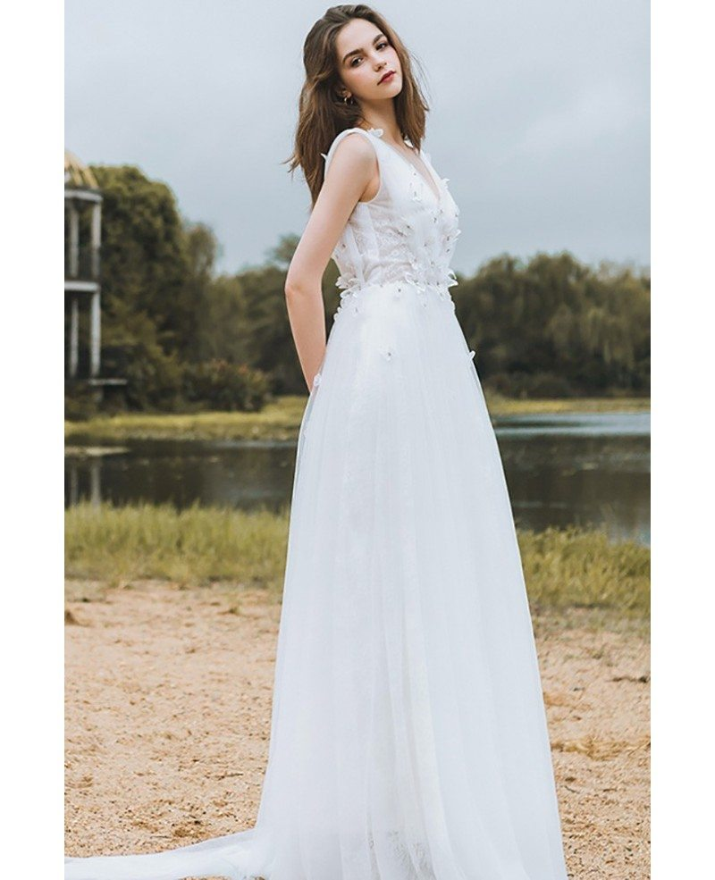 Flowy a line lace beach wedding dress boho low back 2018 for Lace low back wedding dress