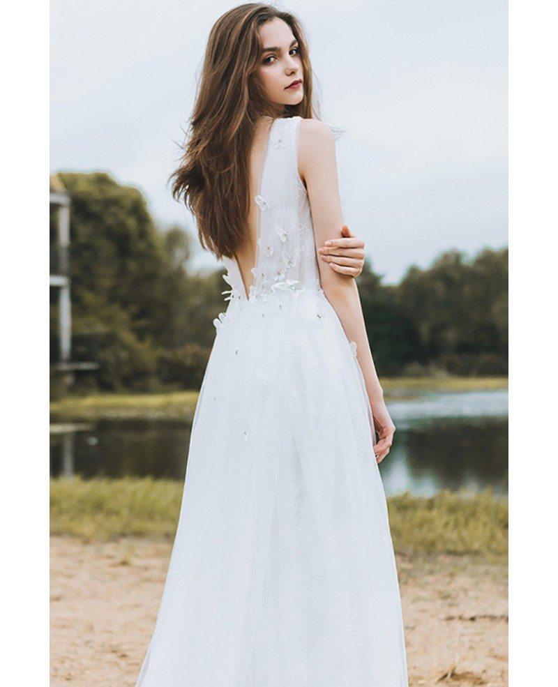 Beach Wedding: Flowy A Line Lace Beach Wedding Dress Boho Low Back 2018