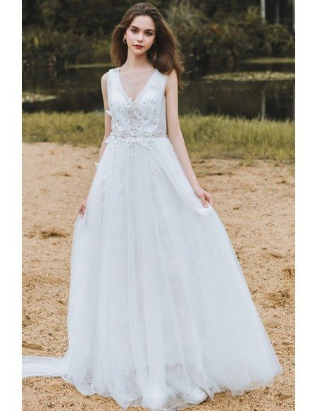 Flowy A Line Lace Beach Wedding Dress Boho Low Back 2018 ...