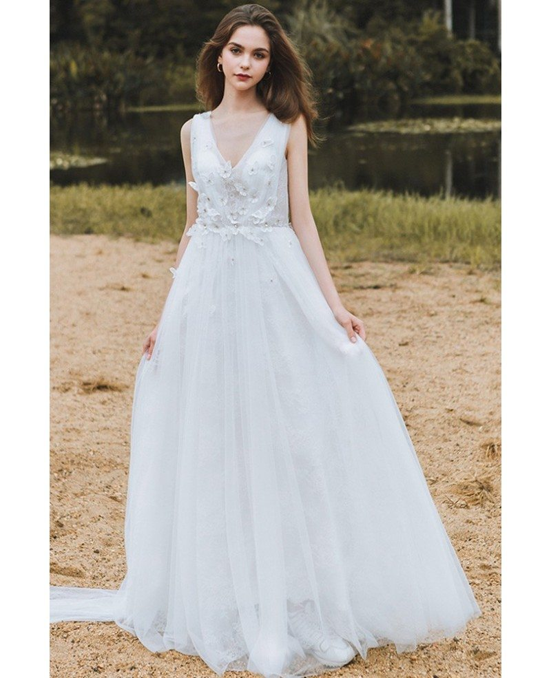 Flowy A Line Lace Beach Wedding Dress Boho Low Back 2018 Destination Weddings