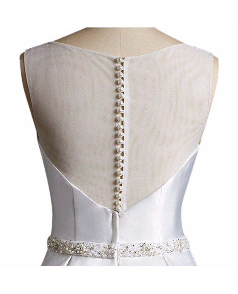 Simple Vintage A Line Satin Short Wedding Dress Reception