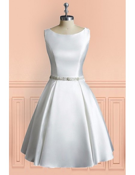 Simple Vintage A Line Satin Short Wedding Dress Reception Sleeveless