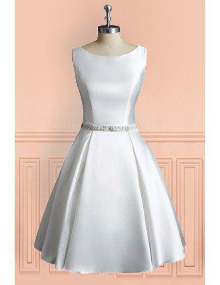Simple Vintage A Line Satin Short Wedding Dress Reception Sleeveless