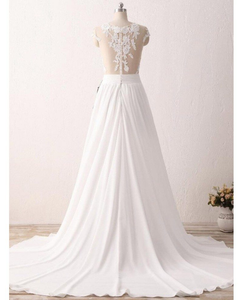 Cheap slit chiffon wedding dress for older brides with for Cheap chiffon wedding dresses