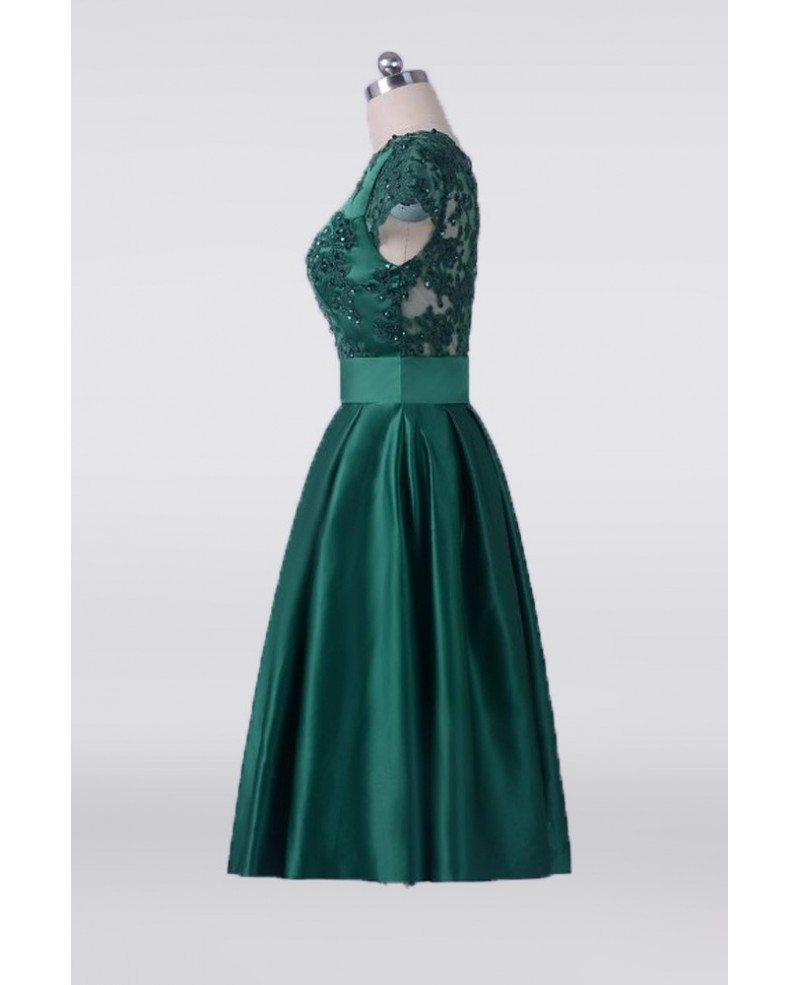 Vintage emerald green short mother of the bride dress with for Emerald green dress wedding guest