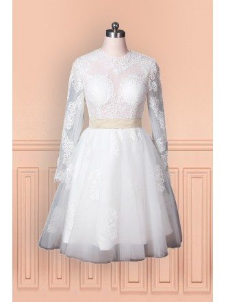 Vintage Lace Older Bride Wedding Dress With Long Sleeves In Knee Length