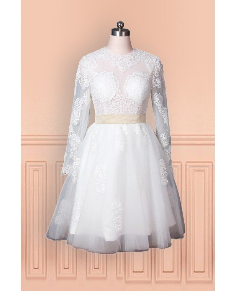 Vintage lace tulle wedding dress with long sleeves in knee for Tulle wedding dress with sleeves