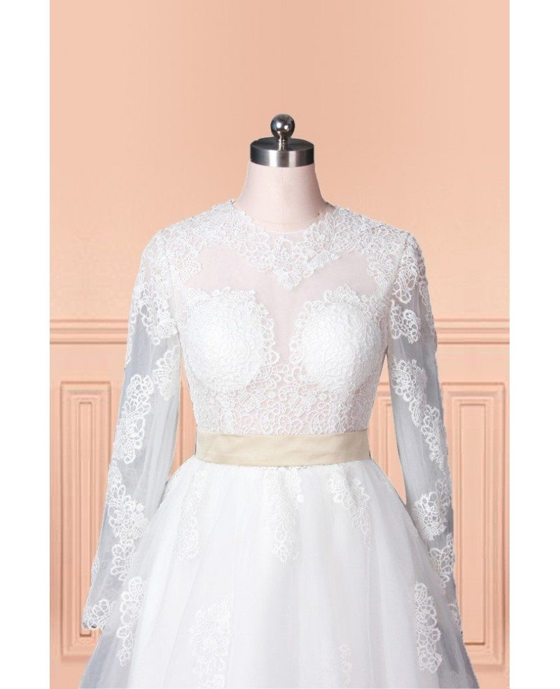 Vintage lace tulle wedding dress with long sleeves in knee for Knee length wedding dresses with sleeves